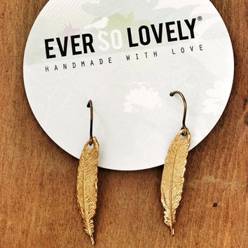 golden plume - simple gold feather earrings