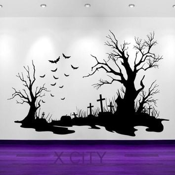 Spooky Halloween Cemetery Scene Bats Tombstones Silhouette WALL ART STICKER VINYL DECAL DIE CUT ROOM STENCIL MURAL HOME DECOR