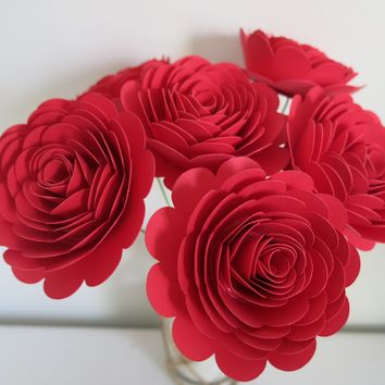 "Set of 6 Red Roses on Stems, 3"" Scalloped Paper Flowers, Gift for Valentine"