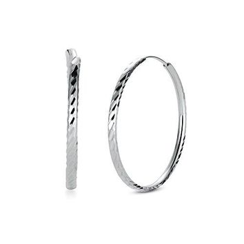 AUGUAU T400 Jewelers 925 Sterling Silver Diamond-Cut Hoop Earrings, All Sizes Small and Large