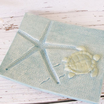 Pottery turtle soap dish jewelry teal green starfish clay card holder spoon rest