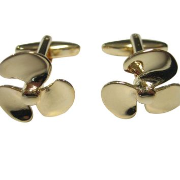 Gold Toned Nautical Boat Propellor Cufflinks