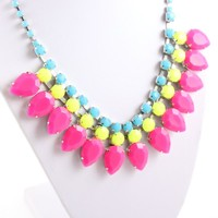 Fashion Jewelry Plated Chain Neon Hot Pink Waterdrop Statement Golden Necklace