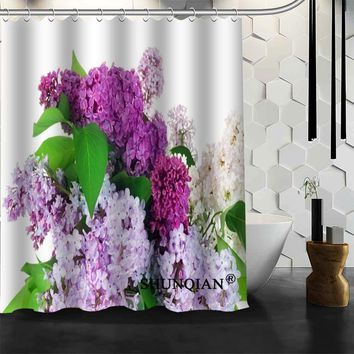 Custom flower purple lilacs Shower Curtain High Quality bathroom Accessories Bath screens Customized curtain