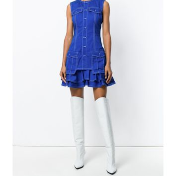 Givenchy Frill Trim Fitted Dress - Blue Round Neck Dress