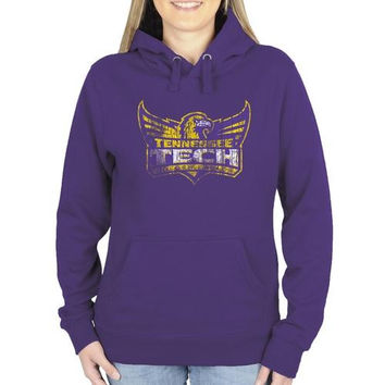 Tennessee Tech Golden Eagles Ladies Distressed Primary Pullover Hoodie - Purple
