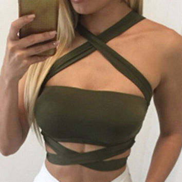 2016 Top Crop Women Summer Backless Cheap Solid Crop Tops Fashion Cross Halter Cropped Feminino Casual Top Crop Women S22454