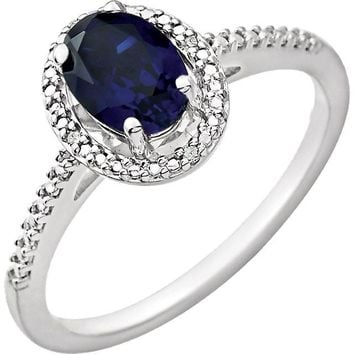 Sterling Silver Oval Created Blue Sapphire & .01 CTW Diamond Halo-Style Ring