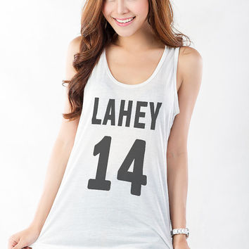 Teen Wolf Shirt Isaac Lahey Jersey Tee Werewolf Beacon Hills High School Lacrosse Women Racerback Workout Tank Top Fitness Tank Gym Teenager