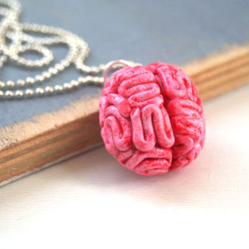 Halloween Brain Necklace Polymer Clay Handmade Human Cerebrum, Creepy Halloween Jewelry