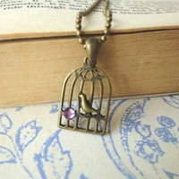 Vintage Bird in Cage Necklace Purple Crystal Girls Teens Women | LittleApples - Jewelry on ArtFire
