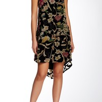 Sleeveless Floral Velvet Swin A-Line Dress