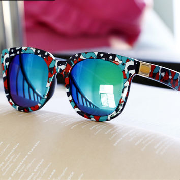 Floral Print Square Sunglasses