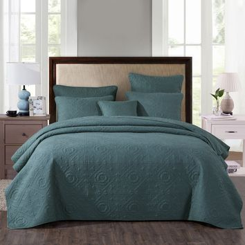 DaDa Bedding Elegant Floral Earthy Forest Green Cotton Quilted Bedspread Coverlet Set (JHW854)
