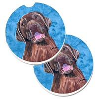 Blue Labrador Set of 2 Cup Holder Car Coasters SC9127BUCARC