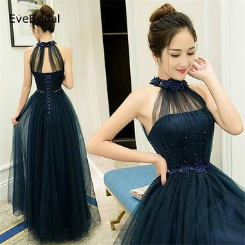 stock A-line Halter Tulle elegant  cheap bridesmaid dresses Wedding party dresses  robe de soiree