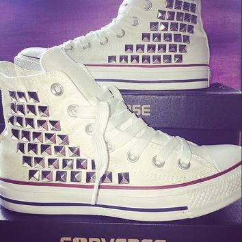 custom converse studded high tops chuck taylors all sizes colors available