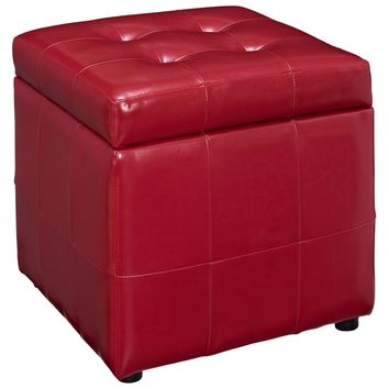 Volt Storage Upholstered Faux Leather Ottoman