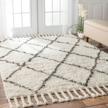 nuLOOM Hand-knotted Moroccan Trellis Natural Shag Wool Rug (8' x 10') | Overstock.com Shopping - The Best Deals on 7x9 - 10x14 Rugs