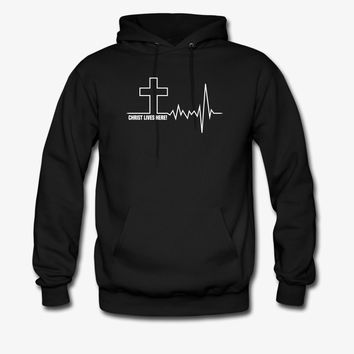 Christ Lives Here | Cross Heartbeat | Christian Hoodie | Christian Life Apparel