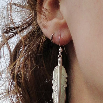 Long Silver Tribal Feather Earrings