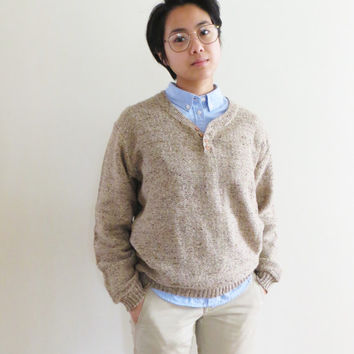 90s KAID by Daniel Mitchell Pullover Sweater, Oatmeal Wool, Button Detail, Unisex Men's Small Women's Medium