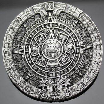 Men's Antique Gold Silver Aztec Mayan Indian Detailed Calendar Mask Western Belt Buckle