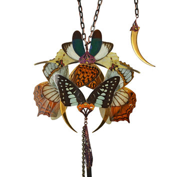 Real Butterfly Dragonfly Luna Moth Wings - Neo Victorian Fairy Fantasy - Gold Plated Necklace - One Of A Kind - Free Shipping