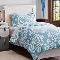 Ikat Medallion Essential Duvet Value Bedding Set, Sky Blue