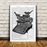 Vintage typewriter poster Wall decor Retro print Antique art RTA88