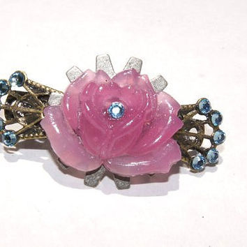 Pink rose gear barrette