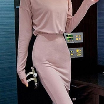 Pink Turtleneck Bodycon Midi Dress