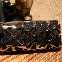 Free shipping!Black Silver Metallic Abstract Minaudiere hard clutch,Evening Bag,Clasp box,shiny evening clutch bags