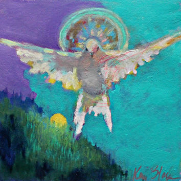 "Bird Painting on Paper, Dove, White Bird, Colorful Spiritual Artwork, ""The Spirit Goes Before You"" 12x12"""