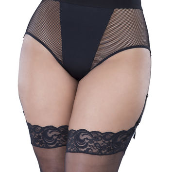 Plus Size High Waisted Fishnet with Garter Straps