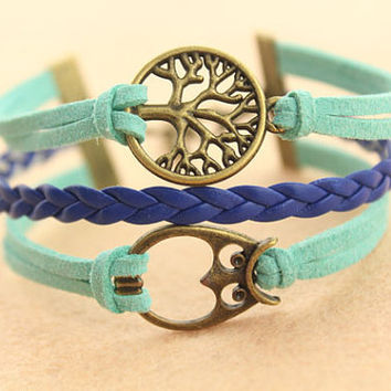 tree of life bracelet--owl bracelet,antique bronze charm bracelet,teal rope,blue braid leather bracelet,MORE COLORS