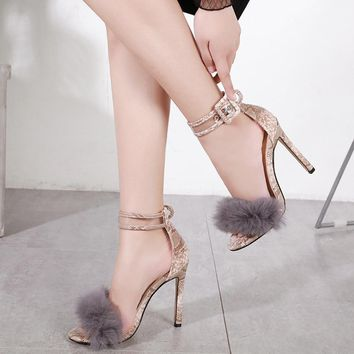 Feather Accented Ankle Strapped Sandals
