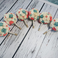 SET OF 4/5/6/7 medium ivory mint Coral reef rustic beach summer wedding BOUQUETS sola Flowers Burlap lace  Bridesmaid roses vintage custom