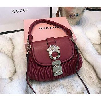 Miu Miu Popular Women Shopping Bag Leather Handbag Tote Shoulder Bag Crossbody Satchel Red