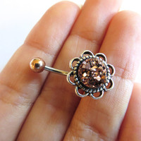 Rose Gold Druzy Geode Pyrite Stone Rock Flower Rose Daisy Belly Button Ring Navel Piercing Stud Glitter Bar Barbell