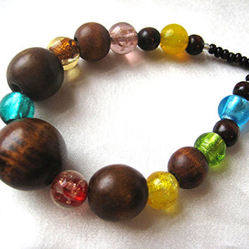 Rainbow lampwork glass & wood color-block necklace. Colorful Hippie Boho love beads. Turquoise green, yellow, red, copper, brown. Long