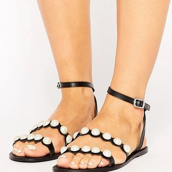 ASOS FRASER Leather Pearl Flat Sandals at asos.com