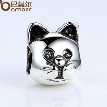 Silver Color Lovely Cat Animal Pattern European Charms for Bead Bracelets Necklace DIY Accessories PA5290