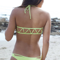The Girl and The Water - Bettinis - Cut Out Bikini Bottom / Lime - $75