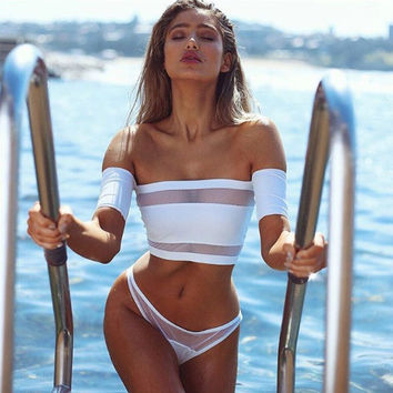 Fashion Gauze Stitching Off Shoulder Crop Top Triangle Underpant Set Two-Piece Bikini Swimwear
