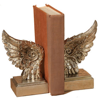 Angel Wing Library Bookend Set - 8-1/4-in