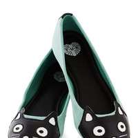 Up Your Alley Cat Flat in Mint | Mod Retro Vintage Heels | ModCloth.com