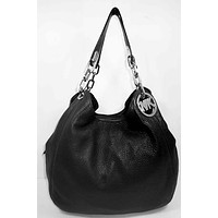 ** MICHAEL KORS FULTON Black Leather Shoulder Tote Bag Msrp *NEW WITH TAG*