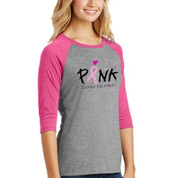 Breast Cancer Awareness Pink Frost Baseball Tee