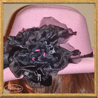 Reconstructed Embellished 100 Percent Wool Pink Vintage Women's Cowboy Hat with Beaded Black Flowers perfect for a Feminine Country Look